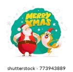 flat merry christmas... | Shutterstock . vector #773943889