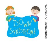 children with down syndrome are ... | Shutterstock .eps vector #773950996