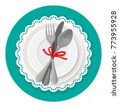 served dinner plate with... | Shutterstock .eps vector #773955928