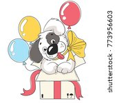 cute puppy dog in box with... | Shutterstock .eps vector #773956603
