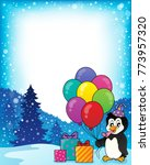 frame with party penguin topic... | Shutterstock .eps vector #773957320