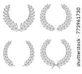 set of four laurel wreaths... | Shutterstock .eps vector #773961730