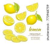 lemon vector set   Shutterstock .eps vector #773968759