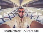 handsome cool man take selfie... | Shutterstock . vector #773971438