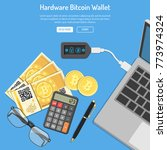 crypto currency bitcoin... | Shutterstock .eps vector #773974324