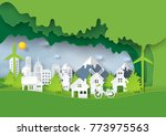 green eco friendly and save... | Shutterstock .eps vector #773975563