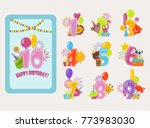 birthday numbers vector cartoon ... | Shutterstock .eps vector #773983030