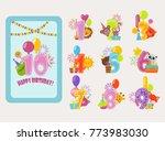 birthday numbers vector cartoon ... | Shutterstock .eps vector #773983030