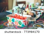 table with tasty breakfast for... | Shutterstock . vector #773984170