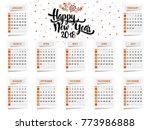 happy new year 2018 calendar... | Shutterstock .eps vector #773986888