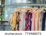 fashion cloth of women on rack | Shutterstock . vector #773988073