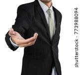 businessman holding open hand ...   Shutterstock . vector #773988094