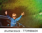 happy little boy travel by car... | Shutterstock . vector #773988604