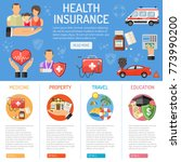 insurance services concept with ... | Shutterstock . vector #773990200