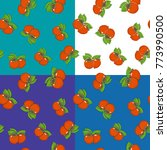 set of four seamless fruit... | Shutterstock .eps vector #773990500