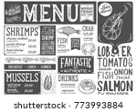 seafood menu for restaurant and ... | Shutterstock .eps vector #773993884
