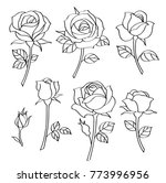 Stock vector vector set of simple roses vintage flowers 773996956
