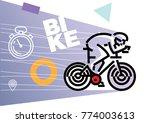 cycling biking. flat outline... | Shutterstock .eps vector #774003613