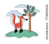 fox cartoon in outdoor scene... | Shutterstock .eps vector #774005626