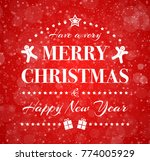 vintage christmas card with...   Shutterstock .eps vector #774005929