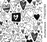 funny doodle hearts icons... | Shutterstock .eps vector #774010783