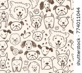 funny doodle dog icons seamless ...   Shutterstock .eps vector #774011044