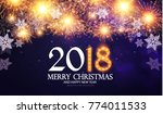 happy new 2018 year poster and... | Shutterstock .eps vector #774011533