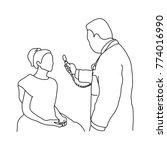 male doctor using optical... | Shutterstock .eps vector #774016990
