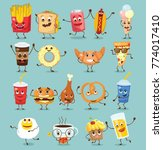cartoon funny food characters... | Shutterstock .eps vector #774017410