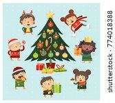 set of cartoon characters... | Shutterstock .eps vector #774018388