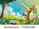 monky and crocodile illustration | Shutterstock . vector #774021160