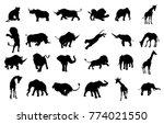 a safari animal silhouette set... | Shutterstock .eps vector #774021550