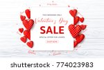 Stock vector promo web banner for valentine s day sale beautiful background with red fabric hearts and confetti 774023983