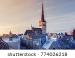 view of snowy roofs of the old... | Shutterstock . vector #774026218