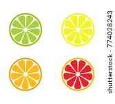 vector set of lemon  orange ... | Shutterstock .eps vector #774028243