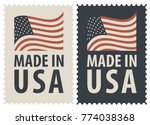set of two postage stamps with... | Shutterstock .eps vector #774038368
