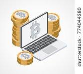 bitcoin web icon   Shutterstock .eps vector #774044380