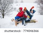 happy playful kid sledding in... | Shutterstock . vector #774046366