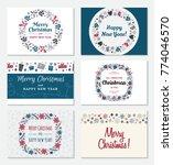 set of christmas greeting card... | Shutterstock .eps vector #774046570