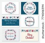set of christmas greeting card... | Shutterstock .eps vector #774046594
