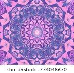 kaleidoscope violet flower.... | Shutterstock . vector #774048670