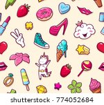 graffiti seamless pattern with... | Shutterstock . vector #774052684