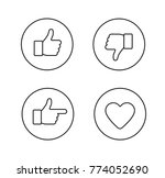 thumbs up thin line icons set.... | Shutterstock . vector #774052690