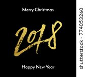 gold merry christmas and happy... | Shutterstock .eps vector #774053260
