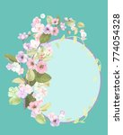 round frame with spring blossom ... | Shutterstock .eps vector #774054328