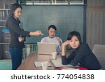 bored business people and... | Shutterstock . vector #774054838