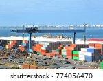 cargo container  pipe  lumber... | Shutterstock . vector #774056470