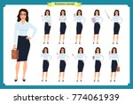 set of  businesswoman character ... | Shutterstock .eps vector #774061939