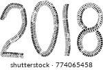 tire tracks . new year 2018.... | Shutterstock .eps vector #774065458