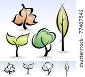 calligraphic trees icon set  ... | Shutterstock .eps vector #77407543